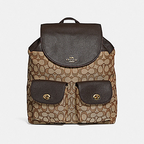 COACH f30275 BILLIE BACKPACK IN SIGNATURE JACQUARD<br>蔻驰比利背包在签名提花 卡其色棕色模仿金