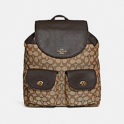 BILLIE BACKPACK IN SIGNATURE JACQUARD - f30275 - KHAKI/BROWN/IMITATION GOLD