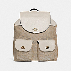BILLIE BACKPACK IN SIGNATURE JACQUARD - f30275 - LIGHT KHAKI/CHALK/LIGHT GOLD