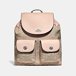 BILLIE BACKPACK IN SIGNATURE JACQUARD - f30275 - LIGHT KHAKI/LIGHT PINK/SILVER