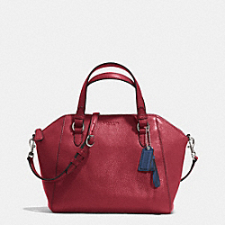 COACH F30281 Park Leather Mini Satchel SILVER/CRIMSON