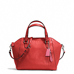 COACH F30281 - PARK LEATHER MINI SATCHEL SILVER/VERMILLION
