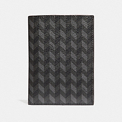 COACH PASSPORT CASE WITH HERRINGBONE PRINT - BLUE/CREAM - F30300