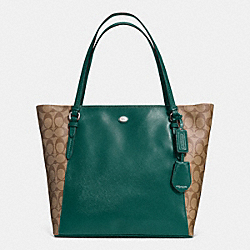 COACH F30301 Peyton Coated Canvas Saffiano Tote SILVER/KHAKI/RACING GREEN