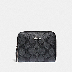 COACH F30308 - SMALL ZIP AROUND WALLET IN SIGNATURE CANVAS BLACK SMOKE/BLACK/SILVER