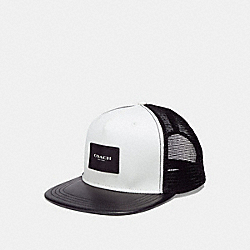 COACH F30331 Mixed Material Flat Brim Hat CHALK BLACK