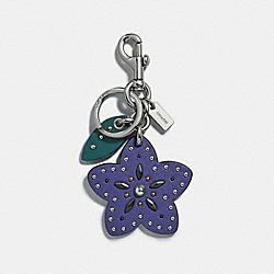 COACH F30337 Studded Wildflower Bag Charm VIOLET/SILVER