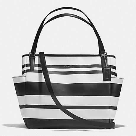 COACH F30343 STRIPED COATED CANVAS BABY BAG TOTE SILVER/BLACK/WHITE