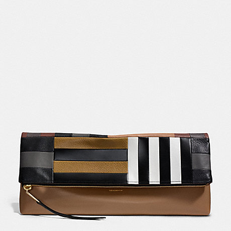 COACH F30372 THE LARGE PATCHWORK CLUTCHABLE GOLD/WALNUT-BLACK
