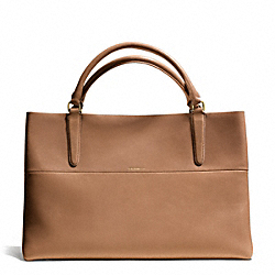 COACH F30381 Retro Glove Tan Leather East/west Town Tote  GOLD/CAMEL/BRIGHT MANDARIN