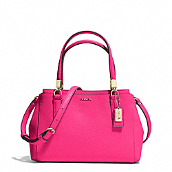 COACH F30402 Madison Mini Christie Carryall In Saffiano Leather  LIGHT GOLD/PINK RUBY