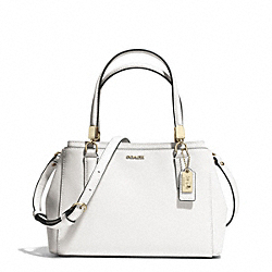 COACH F30402 - MADISON SAFFIANO LEATHER MINI CHRISTIE CARRYALL LIGHT GOLD/WHITE