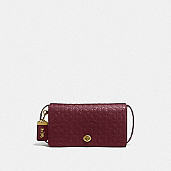 COACH F30427 - DINKY IN SIGNATURE LEATHER OL/BORDEAUX