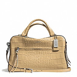 COACH BLEECKER MATTE CROC EMBOSSED PINNACLE TOASTER SATCHEL - SILVER/FWN - F30449