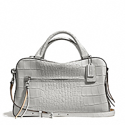 COACH F30449 Bleecker Matte Croc Embossed Pinnacle Toaster Satchel SILVER/GREY
