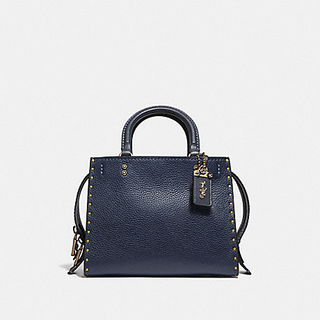 COACH F30456 ROGUE 25 WITH RIVETS MIDNIGHT NAVY/BRASS