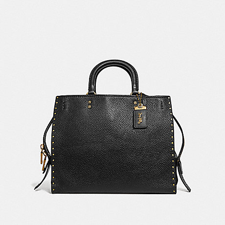 COACH F30457 ROGUE WITH RIVETS BLACK/BRASS