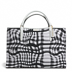 COACH F30469 The Large Wavy Gingham Canvas East/west Town Tote GOLD/BLACK/WHITE