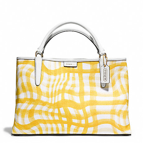 COACH f30470 THE EAST/WEST TOWN TOTE IN PRINTED WAVY GINGHAM CANVAS  GOLD/SUNGLOW/WHITE