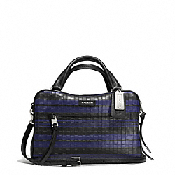 COACH F30471 Bleecker  Embossed Woven Leather Small Toaster Satchel SILVER/BLUE INDIGO/BLACK