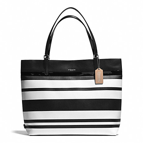 COACH F30511 - STRIPED COATED CANVAS TOTE - SILVER/BLACK/WHITE ...