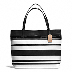 COACH F30511 - STRIPED COATED CANVAS TOTE SILVER/BLACK/WHITE