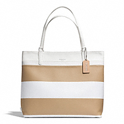 COACH F30511 Striped Coated Canvas Tote SILVER/TAN WHITE