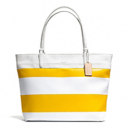 COACH F30511 Striped Coated Canvas Tote SILVER/SUNGLOW/WHITE