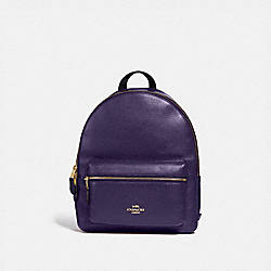 COACH F30550 - MEDIUM CHARLIE BACKPACK DARK PURPLE/IMITATION GOLD