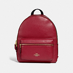COACH F30550 Medium Charlie Backpack CHERRY /LIGHT GOLD
