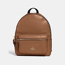 MEDIUM CHARLIE BACKPACK - F30550 - SADDLE 2/LIGHT GOLD