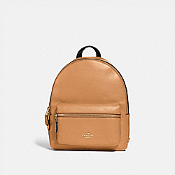 MEDIUM CHARLIE BACKPACK - f30550 - LIGHT SADDLE/light gold
