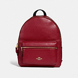 MEDIUM CHARLIE BACKPACK - F30550 - RUBY/LIGHT GOLD
