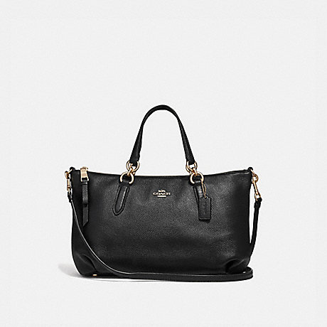 COACH F30565 ALLY SATCHEL BLACK/LIGHT-GOLD