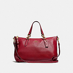 ALLY SATCHEL - F30565 - RUBY/LIGHT GOLD
