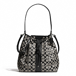 COACH F30581 - SIGNATURE STRIPE DRAWSTRING SHOULDER BAG SILVER/BLACK/WHITE/BLACK