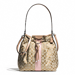 COACH F30581 - SIGNATURE STRIPE DRAWSTRING SHOULDER BAG SILVER/LIGHT KHAKI/SHELL PINK