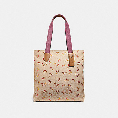 COACH F30604 TOTE IN SIGNATURE JACQUARD WITH CHERRY PRINT LIGHT-KHAKI/MULTI/SILVER