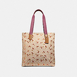 TOTE IN SIGNATURE JACQUARD WITH CHERRY PRINT - f30604 - LIGHT KHAKI/MULTI/SILVER