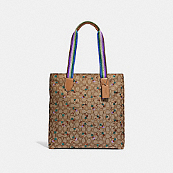 TOTE IN SIGNATURE JACQUARD WITH CHERRY PRINT - f30604 - KHAKI MULTI /SILVER