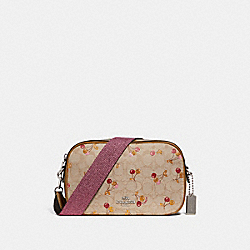 ISLA CHAIN CROSSBODY IN SIGNATURE JACQUARD WITH CHERRY PRINT - f30610 - LIGHT KHAKI/MULTI/SILVER