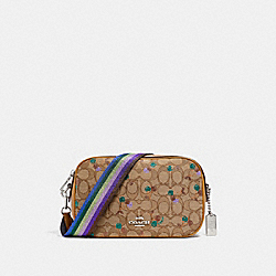 ISLA CHAIN CROSSBODY IN SIGNATURE JACQUARD WITH CHERRY PRINT - f30610 - KHAKI MULTI /SILVER