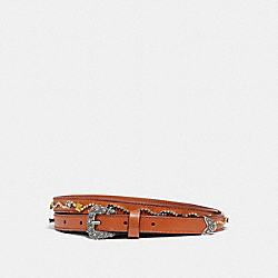 WESTERN BUCKLE BELT WITH TEA ROSE, 15MM - F30640 - LIGHT SADDLE