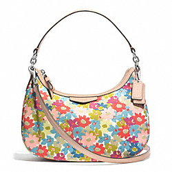 COACH F30661 Signature Stripe Floral Print Demi Crossbody