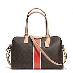 COACH F30662 - SIGNATURE STRIPE NANCY SATCHEL BRASS/BROWN/VERMILLION