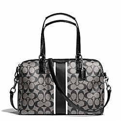 COACH F30662 - SIGNATURE STRIPE NANCY SATCHEL SILVER/BLACK/WHITE/BLACK