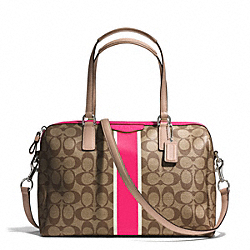 COACH F30662 - SIGNATURE STRIPE NANCY SATCHEL SILVER/KHAKI/POMEGRANATE