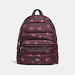 CHARLIE BACKPACK WITH BABY BOUQUET PRINT - f30667 - oxblood multi /silver