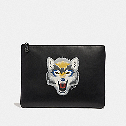 COACH F30679 Large Pouch With Wolf Motif BLACK MULTI/BLACK ANTIQUE NICKEL