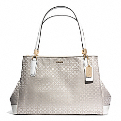 COACH F30681 - MADISON  OP ART PEARLESCENT FABRIC CAFE CARRYALL LIGHT GOLD/NEW KHAKI